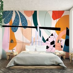 These seven noteworthy designers launch exciting industrial products into the marketplace. Bedroom Murals, Bedroom Wall, Bedroom Decor, Wall Decor, Mural Wall Art, Painting Murals On Walls, Interior Design Magazine, Cool Wallpaper, Wallpaper Designs