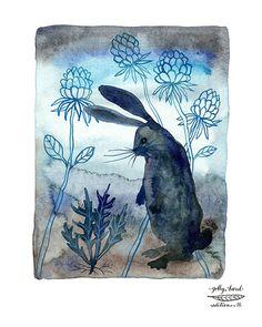 midnight in the garden bunny rabbit giclee print