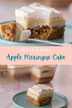 The most delicious apple cake made with a soft biscuit base, silky vanilla custard and marshmallowy meringue. Super easy and quick to make! No Bake Desserts, Easy Desserts, Delicious Desserts, Dessert Recipes, Most Popular Desserts, Meringue Cake, Vanilla Custard, Apple Cake, Tray Bakes
