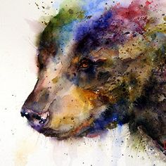 What a delicate use of color and such a fierce animal! I am in love.