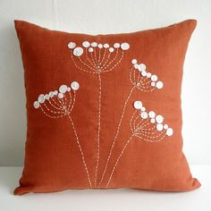 Hand Embroidered  Pillow Cover  16x16 (use white buttons for blossums?)