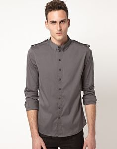 Super chic Villain button down. Cool collar and shoulder detailing. Awesome styled plainly with denim. $88