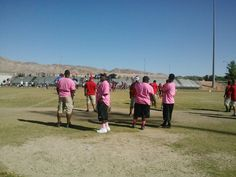 """The Elite Wildcats Football Team showing their support for cancer awareness during their """"Pink Out"""" Game!"""