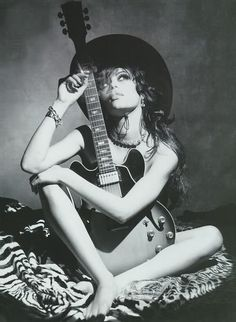sensual girl with guitar