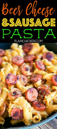 Beer Cheese and Sausage Pasta -CRAZY good! Ready in 15 minutes! Smoked sausage and pasta tossed in a quick homemade beer cheese sauce. Smoked sausage pasta beer cheese flour worcestershire sauce dry mustard and paprika. Tastes just like the beer che Beef Smoked Sausage Recipe, Smoked Sausage Recipes, Sausage Meals, Jalapeno Cheese Sausage Recipe, Leftover Sausage Recipes, Kilbasa Sausage Recipes, Kielbasa Sausage, Jalapeno Cheddar, Beer Mac And Cheese