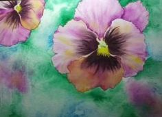 Watercolor, by T Ryder.  Pansies.