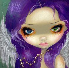 Faces of Faery 162 rosary cross angel big eye fairy face art print by Jasmine…