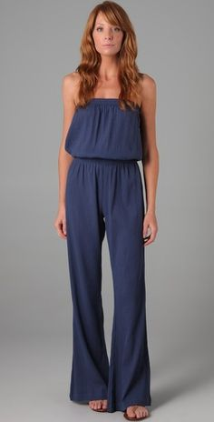 utter and total LOVE. Wide leg cotton-guaze jumpsuit in navy