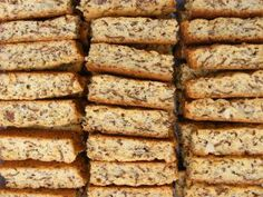 "I grew up in a household where we always ate fabulous homemade rusks. My mom was THAT ""tannie"" who could bake the best ""mosbolletjies"" and buttermilk rusks in the whole tow… Kos, Muesli, Baking Tins, Baking Recipes, Easy Recipes, Baking Store, Baking Breads, Sweet Recipes, Buttermilk Rusks"