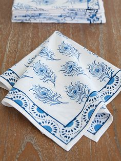 Moroccan Napkins, Blue and White Napkins, Fancy Napkins, Dinner Napkins, Cloth…