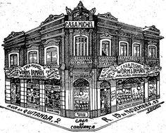 Gravura destaca a arquitetura do imóvel da esquina da Rua da Quitanda com a 15 de Novembro. 30 de dezembro de 1905.  http://blogs.estadao.com.br/reclames-do-estadao/2010/05/20/casa-michel/