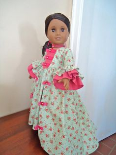 American Girl Doll Clothes Felicity Palace by BackInTimeCreations Ag Doll Clothes, Diy Clothes, One Piece Gown, America Girl, Journey Girls, Thing 1, Garden Dress, How To Make Clothes, Girls World
