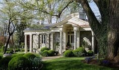 House Beautiful: Southern Elegance - A Designer's Historic Southern Escape via: One Kings Lane Beneath a magnificent ginkgo stands a Greek Revival home surrounded by mowed grass, hedged bo Traditional Decor, Traditional House, Beautiful Buildings, Beautiful Homes, House Beautiful, Greek Revival Architecture, Greek Revival Home, Front Porch Design, Porch Designs