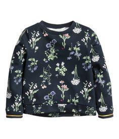 Sweatshirt | Dark blue/floral | Kids | H&M US