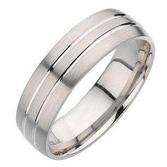 Ernest Jones - Palladium twin groove ring. 6mm