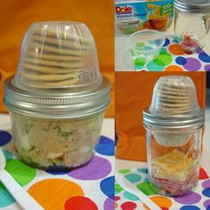 """It's called a """"Mason-able"""" (mason jar Lunchable). Made by reusing fruit cups and mason jars. SO smart! See the DIY details here: http://www.smartschoolhouse.com/easy-recipe/healthy-mason-jar-recipe-ideas/10"""