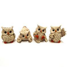 Owl Ornament Bird Figurine Garden Sculpture Cream Small Set/4 2162  | eBay