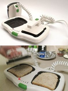 """The Defibrillator Toaster. My mom would be so annoyed… every morning I would run into the kitchen screaming """"WE'RE LOSING THEM!!! BEEP BEEP BEEPBEEP BEEP! DON'T YOU DIE ON ME, DAMNIT!!!  NURSE, WE NEED 12 CC'S OF CREAM CHEESE, STAT!!!""""    This is the best - oh my God:    He's bread, Jim.    (Anyone get the Star Trek reference?)"""