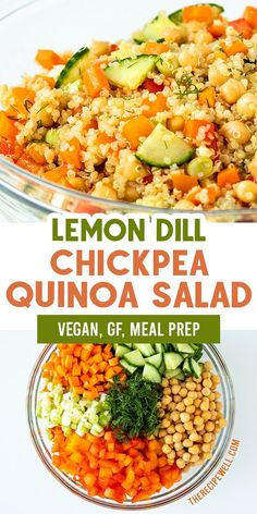 This Chickpea & Quinoa Salad with Lemon Dill Dressing is the perfect summer salad. With crisp vegetables, plant protein and bright flavor, this salad . Quinoa Chickpea Salad, Quinoa Salad Recipes, Salad With Quinoa, Quinoa Dinner Recipes, Avocado Recipes, Healthy Salads, Easy Healthy Recipes, Vegetarian Recipes, Dressings