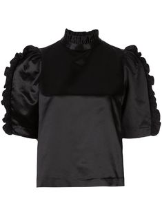 Black cotton-silk blend Felicity satin ruffle top from Cynthia Rowley featuring a ruffled neck, a back button fastening and ruffled sleeves. Cotton Silk, Black Cotton, Sporty Outfits, Cynthia Rowley, Ruffle Top, World Of Fashion, Size Clothing, Black Tops, Women Wear