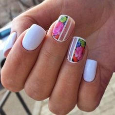 It's time to check out the latest spring nail designs as spring is on the way. Nail art is just as trendy as ever, and this year is no exception. There are plenty of hot new nail designs for the spring season. Nail Designs 2017, Flower Nail Designs, Nail Designs Spring, Cool Nail Designs, New Nail Colors, Nail Polish Colors, Neon Colors, Bright Colors, Spring Nail Art