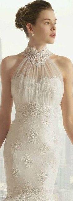 Rosa Clara lace wedding dress with sheer neck detail Beautiful Wedding Gowns, Dream Wedding Dresses, Bridal Dresses, Beautiful Dresses, Wedding Attire, Wedding Bride, Dream Dress, Bridal Collection, Wedding Styles