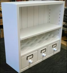 These small cabinets are for dispensing individually wrapped tea bags. The tea bags are loaded in the back and the tea bag is pulled out the front crescent shaped hole. The top cabinet is made with. Tea Storage, Small Cabinet, Storage Cabinets, Organization Ideas, Tea Time, Magic, Furniture, Design, Home Decor