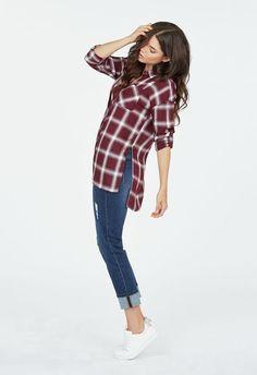 Plaid Shirt Kleidung in Oxblood Multi - günstig kaufen bei JustFab