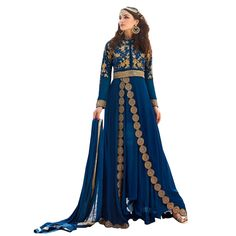 Buy Blue Color Georgette With Embroidery & Stone Work Semi-Stitched Indo Western Suit Online at cheap prices from Shopkio.com: India`s best online shoping site