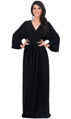 8cd49f1310c KOH KOH Plus Size Womens Long Sleeve Kimono Vneck Wrap Solid Winter Fall Gown  Maxi Dress Color Black Size Extra Large XL 1416   Continue to the product  at ...