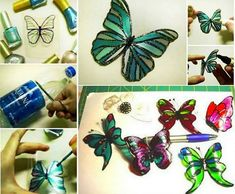 Make these gorgeous Butterflies from plastic bottles and decorate them with your favorite Nail Polish  #diy #crafts