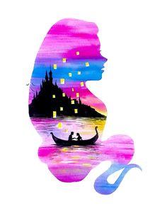 Rapunzel Double Exposure Art Print by Ahmad Illustrations - X-Small Disney Paintings, Disney Artwork, Watercolor Disney, Watercolor Art, Tumblr Wallpaper, Iphone Wallpaper, Image Deco, Cute Disney Drawings, Film Disney
