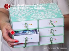 How to make drawers for Project Life using kit boxes from Studio Calico Project Life Storage, Project Life Organization, Room Organization, Scrapbook Supplies, Scrapbook Cards, Scrapbook Rooms, Scrapbooking, How To Make Drawers, Studio Calico