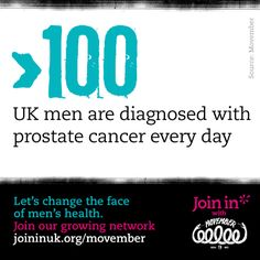 Over 100 men are diagnosed with prostate cancer every day. Let's change the face of men's health. Join In with Movember. Self Promotion, Movember, Prostate Cancer, Male Face, Take Care Of Yourself, Cancer Awareness, Join, Branding