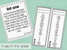 FREE Sight word checklists and master pages. {Great for organizing student progress}