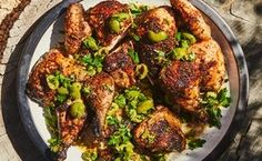Butterflied Chicken with Herbs and Cracked Olives