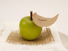 Apple Escort Cards, Country Wedding Guest Name Place Cards for your Wedding Table Decoration, Barn, Rustic, Farm, Green.