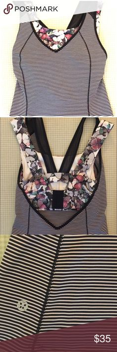Lululemon Built-in Bra Tank Super cute, stripped Lululemon tank with adorable butterfly print bra. No tag but fits like a size 2 in Lululemon. lululemon athletica Tops Tank Tops