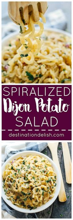 Spiralized Dijon Potato Salad | Destination Delish – a quick and easy side dish made with potato noodles and a simple Dijon vinaigrette dressing. This salad is sure to be a hit at any summer picnic! Gluten-free.