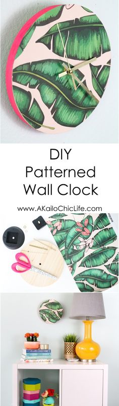 DIY Patterened Wall Clock - Easy DIY Project using leftover Wallpaper samples - palm leaf clock - printed clock