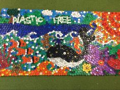 """"""" - check out our recycled plastic bottle top murals"""" Plastic Bottle Tops, Bottle Top Crafts, School Murals, Sensory Garden, Recycling, Kids Rugs, Cap, Twitter, Manualidades"""