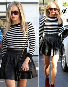 Ashley Tisdale in Alice + Olivia skirt