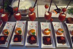 Spaans toetje, tarta chocolate, gazpacho de fresas, mandarin