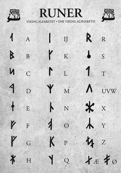 "It is more myth and fantasy to call this set of runes ""Viking"". This set more closely resembles the extended Danish futhark – an alphabet based on the Younger Furthark with added runes to cover a complete Norse and Latin alphabet. I'm researching… Alphabet Code, Sign Language Alphabet, Alphabet Symbols, Viking Runes Alphabet, Sign Language Words, Ancient Alphabets, Ancient Symbols, Egyptian Symbols, Alfabeto Viking"