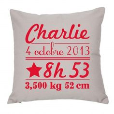 Coussin naissance Grand modèle - by Matao Noisette personnalisation Rouge vernis - décoration chambre enfant - Pouf pour salle de jeu - cadeaux de naissance - 12 couleurs Baby Couture, Couture Sewing, Diy For Kids, Crafts For Kids, Diy Cushion, Kids Corner, Happy Baby, Baby Sewing, Textiles