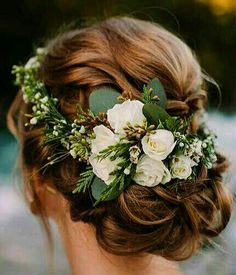 Wedding day flower crown with roses and greenery