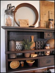 Primitive Kitchen Display - love the shelf as well as all that is on it! - Primitive Kitchen Display – love the shelf as well as all that is on it! Primitive Homes, Primitive Shelves, Primitive Furniture, Industrial Furniture, Prim Decor, Rustic Decor, Primitive Decor, Country Primitive, Primitive Christmas