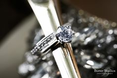 Classic solitaire white gold diamond engagement ring and matching wedding band