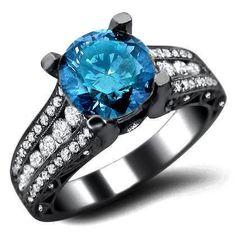 2.20ct Blue Round Diamond Engagement Ring 18k Black Gold