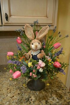 Wonderful Easter Decoration Ideas For Your Inspiration; Easter Table Decoration Ideas With Egg And Bunny; Easter Flower Arrangements, Easter Flowers, Easter Centerpiece, Floral Arrangements, Hoppy Easter, Easter Bunny, Easter Eggs, Bunny Bunny, Easter Projects